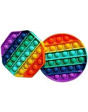 Good4Good Pop bob Fidget sensoriel Antistress - Push Pop Bubble Pop it - Multi Couleur Rainbow 2pcs (Octogone et Rond)