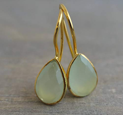 Aqua Chalcedon Gold plattiert 925 Sterling Silber Ohrhaken Ohrringe