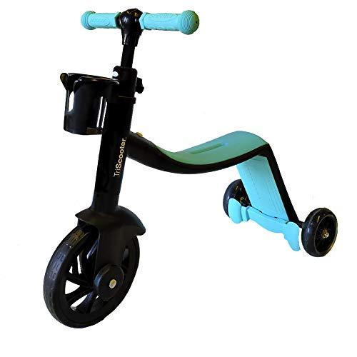 BIWOND - Monopattino 3 in 1 (modalità deambulatore, modalità triciclo, modalità monopattino, ruote sicure, manubrio regolabile antiscivolo, pedali smontabili) - blu