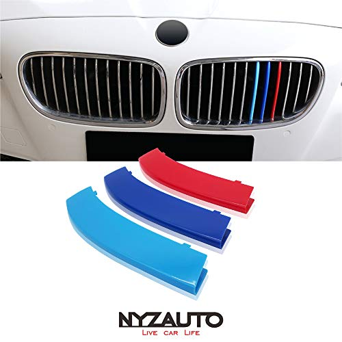 NYZAUTO M-Colored Stripe Grille Insert Trims Compatible with 2011-2013 BMW F10 5 Series 528i 535i 550i Kidney Grills (12 Beams,Not Fit 10-Beam)