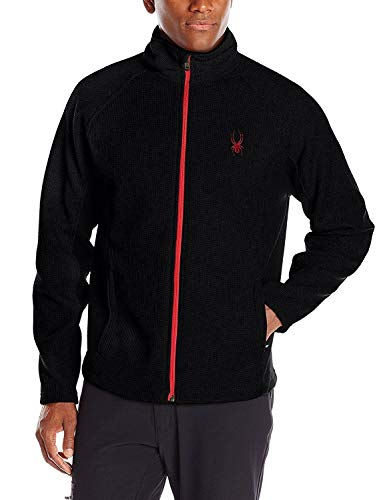 Spyder Men's Foremost Full Zip Heavy Weight Stryke Fleece Jacket Large Black/Red