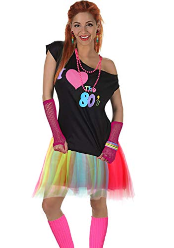 Fun Daisy Clothing Damen I Love The 80er Jahre T-Shirt 80er Jahre Outfit Zubehör, Regenbogen - UK 12-14 / S-M
