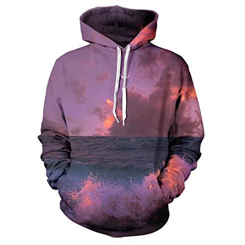 Kapuzenpullover,Ozean Sonnenaufgang Serie Tops Pullover Herren 3D Mode Kapuze Mantel Teenager Outdoor Hoody Unisex Freizeit Sportswear Lila L