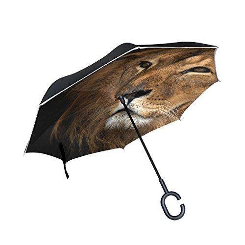XiangHeFu - Paraguas invertido de Doble Capa, Diseño de León, Plegable, Resistente al Viento, Protección UV, Gran Recto, para Coche con Mango en Forma de C