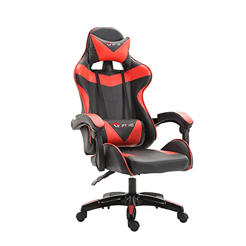 RAPTAVIS Gaming Chair Office Computer Ergonomic Video Game Chair Backrest and Seat Height Adjustable Swivel Recliner with Headrest and Lumbar Cushion Esports Chair (Red)