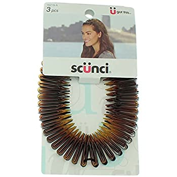 Scunci Effortless Beauty Stretch Hair Combs Tortoise Opaque White and Black  3-Count