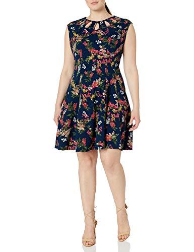 Gabby Skye Women's Plus Size Cap Sleeve Round Neck Knit A-line Dress, Navy Multi, 18W