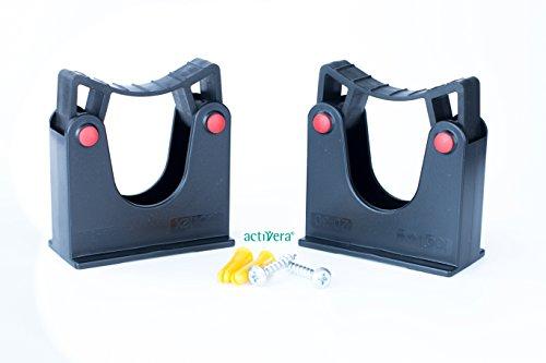 Werkzeughalterung Doppelpack Wandhalter Universalhalterung für Rohrdurchmesser 20-30mm Farbe schwarz inkl. Dübel und Schrauben
