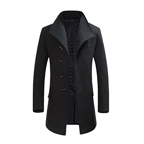 Allthemen Manteau Homme Hiver Long Trench Coat Slim Outerwear Couleur Unie Coat en Laine, Noir, XL