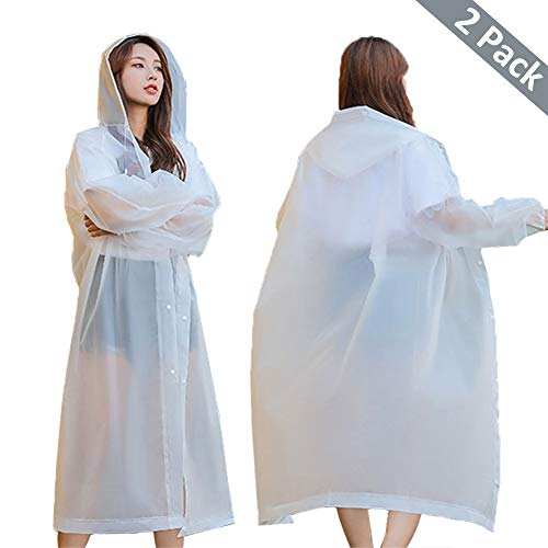 """Rain Poncho Reusable, 2 Pack Adult Raincoat with Hoods and Sleeves, Thicken Clear Ponchos for Men Women Teens, 45.2"""" x 24.8"""" (White+White)"""