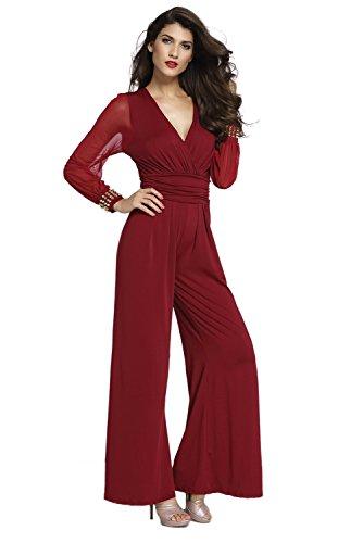Tuta Donna Elegante - Tute Intere da Sposa Cerimonia O Damigella - Fashion Moderno da Discoteca Party Sera Ballo O Festa (2XL, Rosso)