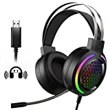 Gaming Headset with 7.1 Surround Sound,PC Lightweight Headset with Noise Canceling Mic,Bass Surround,Soft