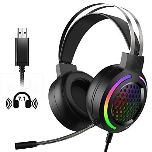 Gaming Headset (Kabelgebundene Headphones für PC, PS4, Laptop, Mac, 50mm Treiber, 7.1 Surround Sound, Ultra leicht) Schwarz Game Headphone mit Mikrofon Buntes RGB Licht, Rauschunterdrückung