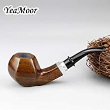 Classic Hexagon Bowl Smoking Pipe 9mm Filter Ebony Wood Pipe 10 Tools Free Handmade Tobacco Pipe Wood Stand 2in1 Tobacco T...