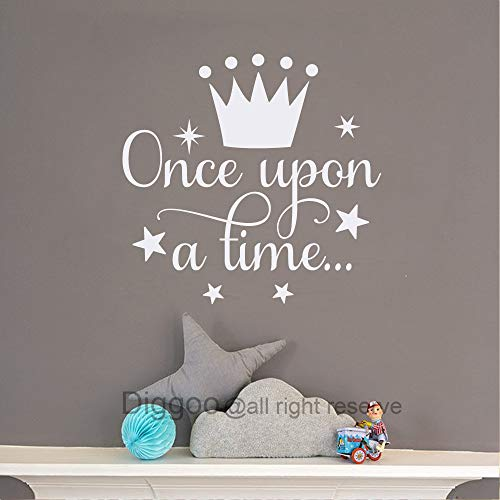 Diggoo Once Upon A Time Wall Decal Fairytale Decal Princess Crown Decor Girls Bedroom Decor Kids Room Quotes White14quot h x 145quot w