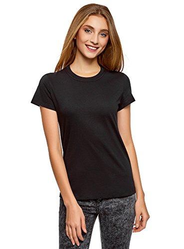 oodji Ultra Mujer Camiseta de Algodón con Cuello Redondo, Negro, ES 44 / XL