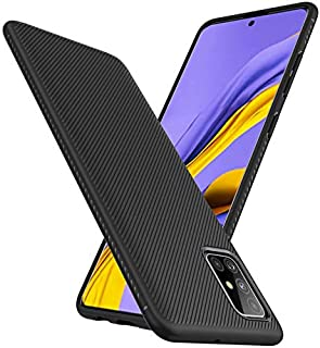 Samsung Galaxy A71 Case Cover Carbon Design Texture Soft case with Anti Slip Hand Grip and Camera Protection Back Case Cov...