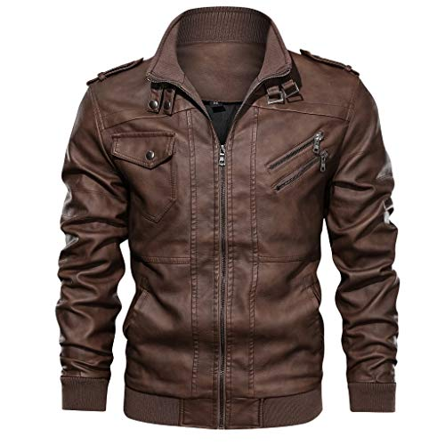 Best Price eipogp Men's Vintage Leather Jacket Fashion Windproof Faux Leather Coat Stand Collar Wash...