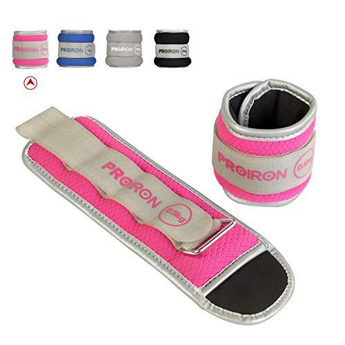 PROIRON Lastres Tobillos Pesas para Piernas Tobilleras 0.5kg×2 (Rosado)con Peso con Diseño Reflectante y Correa Ajustable Pesas Tobillos Pesas para Tobillos