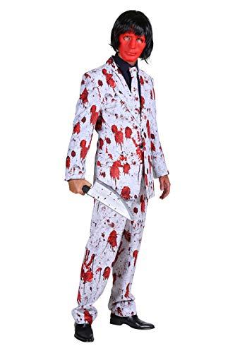 Kostüm Halloween Herren Blutiger Anzug 4 Teilig Jackett Hose Hemd Krawatte Komplettkostüm I Verkleidung für Karneval Fasching & Cosplay I Weiß Rot Größe 56