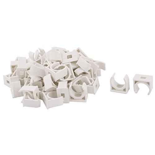 sourcing map 50Stk Rohrklemme Haus PVC U Form Wasser Verwenden Rohr Halter Ständer Klemme 20mm Dmr. Weiß