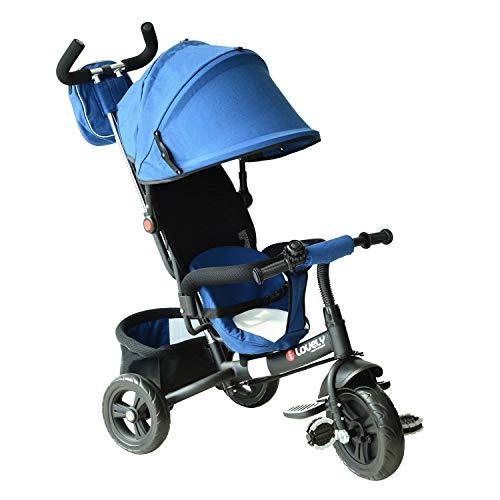 HOMCOM Tricycle Enfants évolutif Canne et Pare-Soleil Pliable Amovible Sacoche et Panier 96 x 54l x 101 cm Acier Bleu