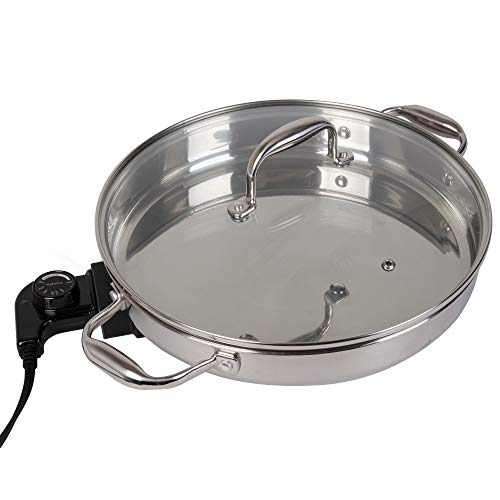 Electric Skillet by Cucina Pro - 18/10 Stainless Steel with Tempered Glass Lid, 12' Round