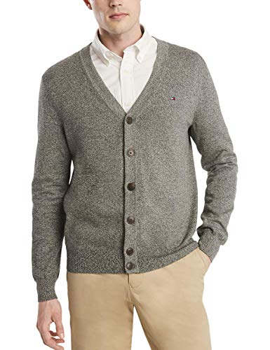 Tommy Hilfiger Men's Cotton Cardigan Sweater, Sport Grey Heather/Charcoal Heather, Medium