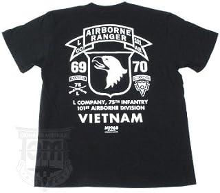第75歩兵連隊(レンジャー)L中隊/第101空挺師団所属/ベトナム戦争 ミリタリーTシャツ TP-369 (M, BLACK)