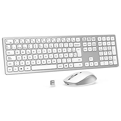 Jelly Comb 2.4G Teclado y Raton Inalámbrico Recargable, Teclado USB Ultrafino de Tamaño Completo Español, y Ratón Inalambrico con 3 dpi, para PC/Laptops/Smart TV, Retroiluminado Plateado y Blanco