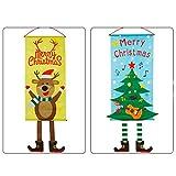 Fofofs Weihnachtsschmuck Fahnen, Weihnachtsfenster Hotel Einkaufszentrum Szene Dekoration Decke Atrium Dekoration hängt Flagge Weihnachtsmann/Schneemann/Reh/elf/Kranz/Baum hängen