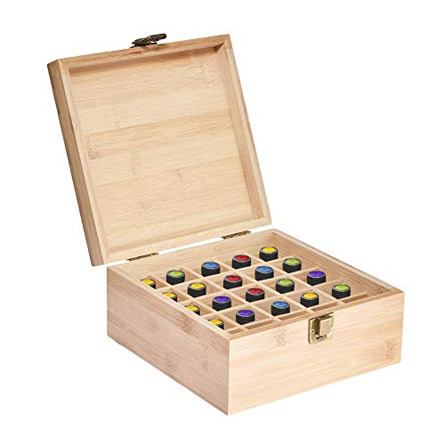 Augproveshak Essential Oil Storage Box Case | Wooden Organizer Holds 25 Bottles 5 mL, 10 mL and 15mL Sizes | Nature Bamboo Box For Home or Travel