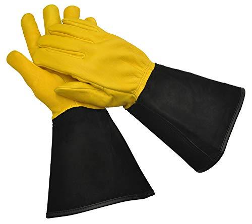 WAGNER Gold Leaf Gloves - Tough Touch - Herren - Gartenhandschuhe/Rosenhandschuhe der Extraklasse/Hirschleder und Rindsleder/stachelresistente Stulpe/RHS Auszeichnung - 25305000