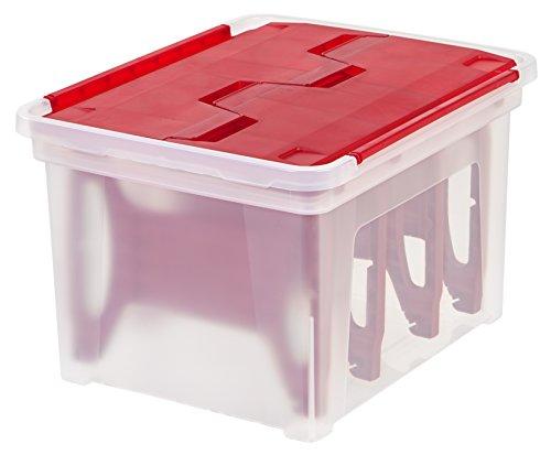 IRIS USA, Inc. WFB-45LW IRIS Wing Lid Storage Box with 4 Light Wraps, Red