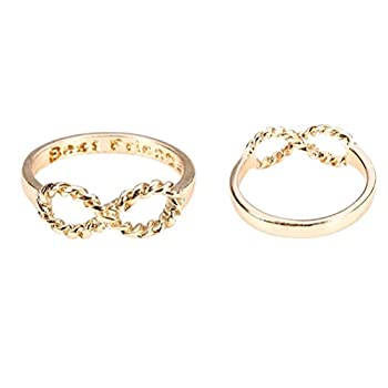 Tinksky Lovers Bowknot Infinity Best Friends Inscribed Finger Ring  Golden