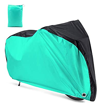 Roctee Bicycle Cover Waterproof Wind Rain Snow Proof Outdoor Mountain Bike Road Travel Bike Cycle Covers with Storage Bag, 78.7''(L) 27.6''(W) 43.3''(H) for XL Size (Black & Aqua Green)