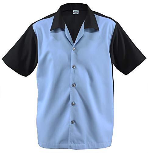 Herren Bowling Shirt Work gab Hemd Rockabilly Teddy Boy Two Tone Gabardine Lounge Fifties Vintage Retro 50's 50'er Double Panel D670 (L/Large, Black/Blue)