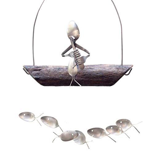 Scucs Windspiele - Fishing Man Spoon Fischskulpturen - Einzigartige Dekoration für Küsten- und Strandthemen - Hängende Ornamente für den Innenbereich im Freien für Hausgartendekorationen