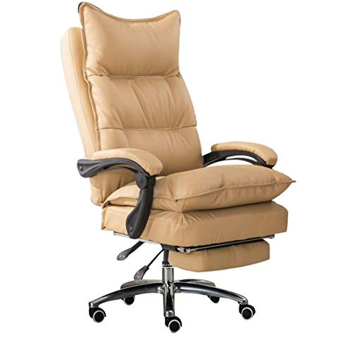 FTFTO Office Life Executive Recline Ergonomic High Back Leather Office Chair, Adjustable Height Executive with Footstool Computer Desk Chair Office Chair (Color : White)