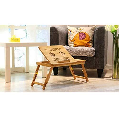 Tabla portátil con cajón de la Mesa Plegable portátil de Mesa de la Mesa de Trabajo de bambú Mesa de Cama Plegable para la Lectura o el Desayuno,70 * 30 * 26