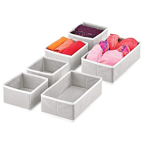 mDesign Juego de 6 Cajas para Guardar Ropa – Organizador de Armario en 2 tamaños para Dormitorio y Cuarto Infantil – Cajas organizadoras de Fibra sintética con diseño Atractivo – Gris Claro y