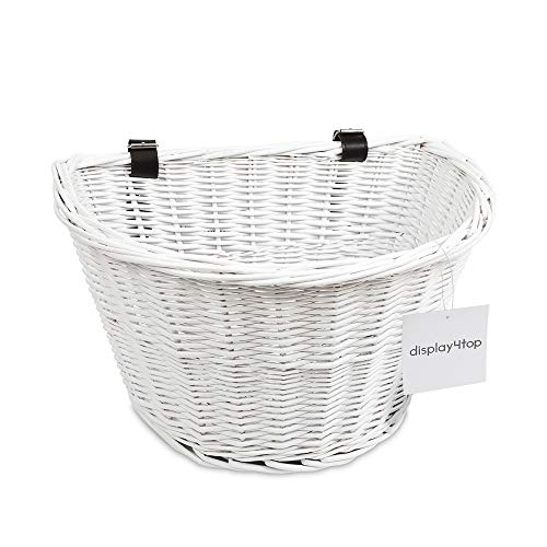 Display4top Handmade Retro White Wicker Bicycle Basket with Brown Leather Straps