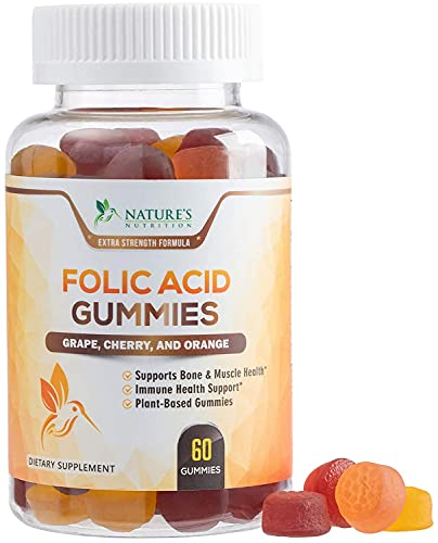 Folic Acid Gummies for Women 400mcg, Essential Support for Mom and Baby, Extra Strength Prenatal Vitamins, Chewable Folate Nutrition Supplement for Before, During, and After Pregnancy - 60 Gummies