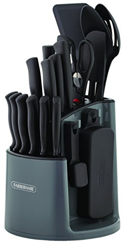 Farberware 30-Piece Spin-and-Store Knife and Kitchen Tool Set with Rotating Storage Caddy, Black