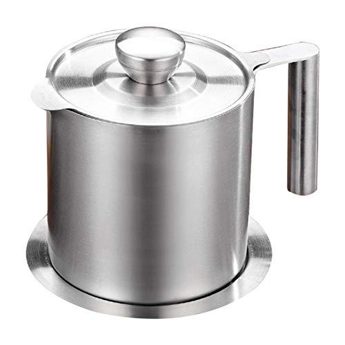 ZEH Contenedor de Grasa de Tocino, Separador de Grasa Almacenamiento de Aceite Can PILATENIDO 1.6 L Cocina Lata para Cocina de Grasa de Tocino Cocina o Aceite de freír, 1.6L FACAI (Size : 1.2L)