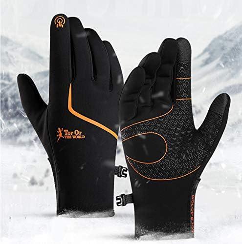 CXW Winter Cycling Gloves Waterproof Touch Screen Warm Bike Gloves for Men Women Black Orange product image