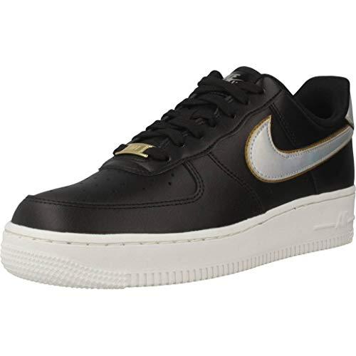 Nike Wmns Air Force 1 '07, Zapatillas de Gimnasia para Mujer, Negro (Black/Mtlc Platinum/Summit White/Mtlc Gold 002), 43 EU