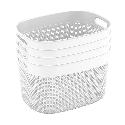 Curver Set of 4 - Perfect Bins for Home Office, Closet Shelves, Kitchen Pantry and All Bedroom Essentials Purl Large Decorative Plastic, 19QT/ 18L, White