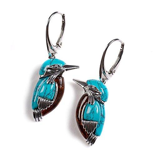 Kingfisher Ohrringe Vogel Silber Türkis Bernstein