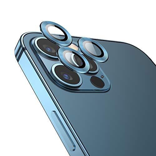 TAMOWA Kamera Panzerglas Schutzfolie Kompatibel mit iPhone 12 Pro Max, Aluminiumlegierung 360 Grad Schutz Kamera Linse Displayschutz, 9H Härte, Anti-Kratzen, Blau